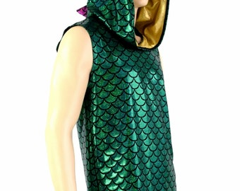 Mens Sleeveless Mardi Gras Green Dragon Print Holographic Purple Spiked Dragon Hoodie Rave Festival Clubwear EDM Party Animal -151081