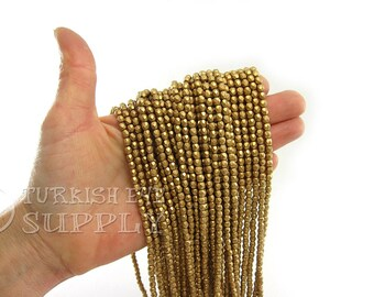 Faceted Crystal Beads 4mm Metallic Gold Round Czech Crystal Bead Strands One 1 Full Strand Crystal Beads, Loose Beads, Glass Beads, Supplies