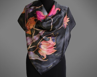 Hand painted silk scarf with tulips and a butterfly. Tulips silk scarf. Black scarf. Silk shawl scarf. Square silk scarf. Ready to ship.