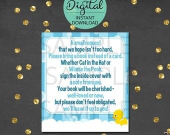 Rubber Ducky Book Request, Baby Shower Games, Rubber Duck, Yellow Ducks, Baby Shower Ducks, Digital Baby Shower, INSTANT DOWNLOAD #4986