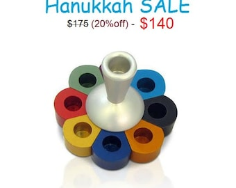 Multi color Hanukkah Dreidel (Dual-purpose),Judaica art,Modern Jewish art,Made in Israel,Hannukiah,Chanukiah,Hanukiah,Jewish holiday gift