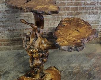 Burl Wood 2 Tier Shelf or Stand - Burled Elm Driftwood Natural Reclaimed Floor Shelves