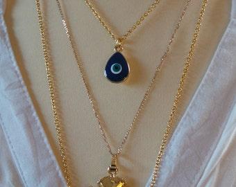 Evil eye necklace. Enamel evil eye necklace. Evil eye pendant. Evil eye drop necklace. Drop necklace. Gold chain necklace with drop pendant.