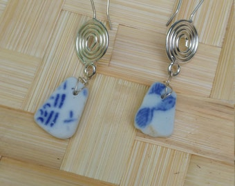 Blue and white porcelain earrings on sterling silver