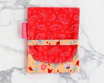 The secret tarot card bag - red and mango