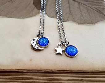 2 Star and Moon Necklaces, best friends jewelry, 2 Star Moon Chokers, matching necklaces, best friends gift, moon and star jewelry, Mermaid