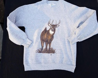 Vintage Deer Sweatshirt - size M (S) Front and Rear (literally) prints. Hilarious. 1983 hipster clothing