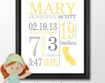 birth announcement for nursery, baby birth print, personalized baby print, baby announcement, baby name art with stats, Birth Date Print