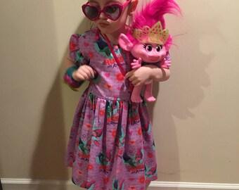 """Trolls Poppy & Branch """"Hugs All Around"""" Girls Purple Dress size 3T, 4T"""