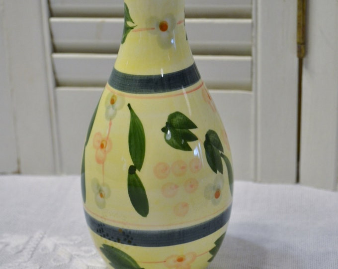 Vintage Ceramic Vase Hand Painted Floral Design Green Yellow PanchosPorch