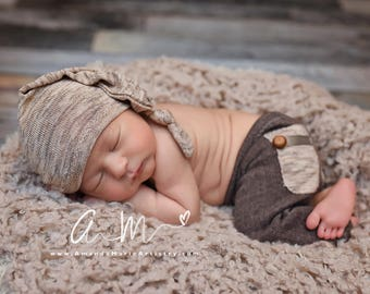 Newborn Boy Outfit, Baby Pants Prop, Newborn Pants & Sleepy Hat, Newborn Hat, Knot Hat, Newborn Pants, Newborn Photo Prop, Baby Picture Prop