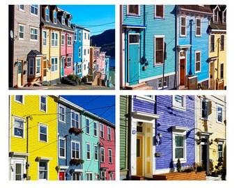 Newfoundland Art, Jelly Bean Row Art, Newfoundland Photography, Downtown St. John's Art, JellyBean Row Houses Prints, Set of 4 Wall Art