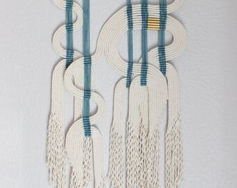 """Macrame Wall Hanging """"ind + wht"""" by HIMO ART, One of a kind Handcrafted Macrame, rope art"""