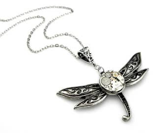 Geek Dragonfly Pendant - Clockwork Watch Insect Pendant (mechanical watch movement) Steampunk Inspired