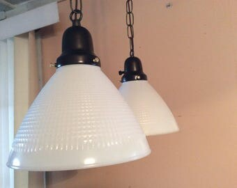 Antique Pair of Milk Glass Pendant Lights 1930s Industrial Conical