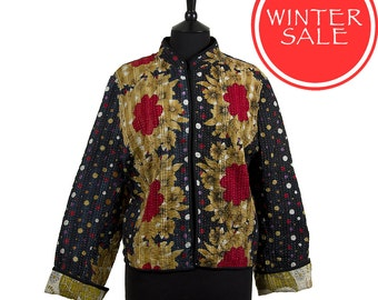WINTER SALE - XX Large size - Short Kantha Jacket - Black with red and beige. Reverse olive and beige.