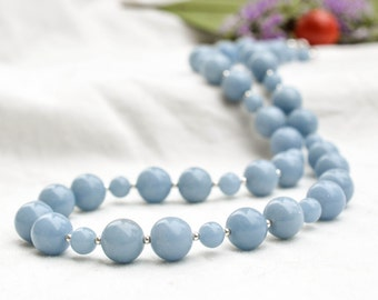 Natural angelite necklace with 925 sterling silver *Free worldwide shipping*