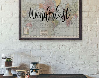 Wanderlust Travel Poster, World Map Print, Map Poster, World Map Art, Travel Quote, Motivational, World Map Poster, Travel Gift, Vintage