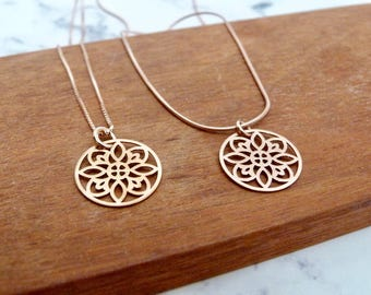 Rose gold round geometric mandala pendant necklace