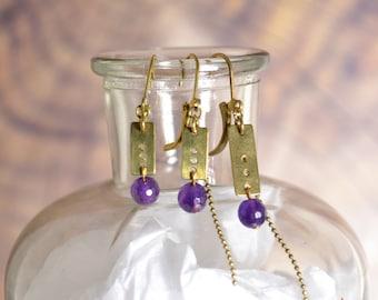Amy earrings in brass and Amethyst