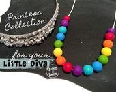 Kids Fidget Necklace - Toddler Jewellery - Kids Jewelry - Silicone Beads - Teething Beads - Chew Jewellery Beads for Kids - Bright Rainbow