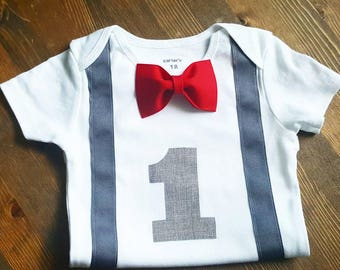 Boys First Birthday Outfit - 1st Birthday Boy Shirt - Red First Birthday Boy  - Bow Tie - Personalized First Birthday Outfit Boy