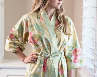 Womens Long Lined Robe • Kimono Robe • Plus size Bathrobe • Yukata • Maternity Hospital Robe • Dressing gown • Floral BTQ Light Blue Navy