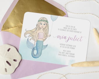 Mermaid Birthday Invitation - Under The Sea, Girl Birthday Invitation