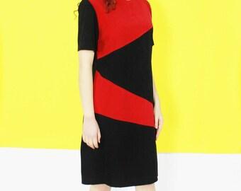 80s SHIFT dress color block red black SUEDE feel short sleeve dress MEDIUM med m