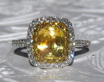 Yellow Sapphire Engagement Ring, Canary Yellow Cushion Sapphire in Double Diamond Halo Engagement Ring, Yellow Diamond Engagement Ring