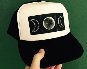 Triple Moon Trucker Hat, Art Hats, Triple Moon Goddess, Witch Art, Moon Art, Hat, Trucker Hat, Hat Gift, Art Print, Space Art, Moon Phases