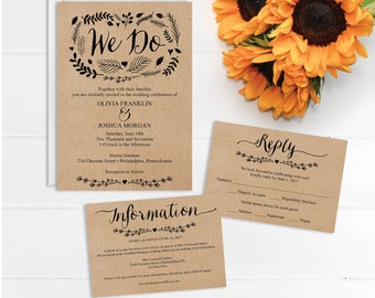 Wedding Invitations - Wedding Invite Template - Printable Wedding Invite - RSVP Card - Details Card - Instant Download - Wedding Invite Set