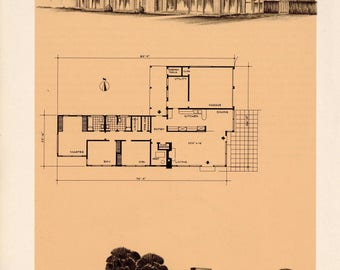 Designing for a Solar Home Book Plates. Kansas. Harris Armstrong.  Architectural Drawings. Solar Energy. Solar Homes. 1947.