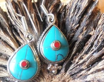 "Turquoise, Red Coral and Sterling Silver Earrings........1.5"" in length"