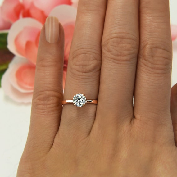 1 Ct Promise Ring 4 Prong Solitaire Ring Man Made Diamond