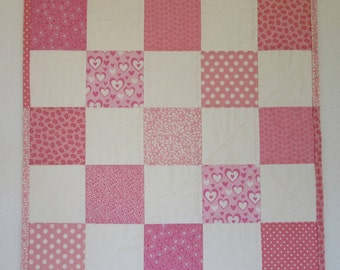 """Doll Quilt, 20.5"""" x 20.5"""", Pink, White, Hearts, Flowers, Dots, Five Patch Quilt, Free Pillow"""