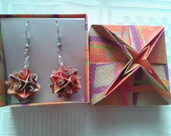 Origami earrings of colorful paper ornaments handmade