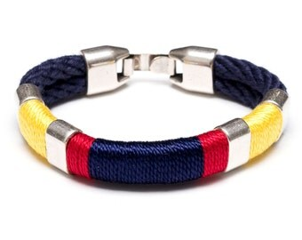 Nautical Rope Bracelet / Nautical Jewelry / Navy Blue Rope Bracelet / Red Yellow Navy Bracelet / Nautical Gift / Nautical Bracelet