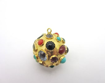 Vintage XL Multi Gemstone Colorful Sputnik Ball 18k Yellow Gold Pendant