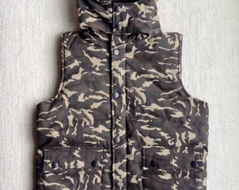 Military Camouflage Print  puffy Vest Jacket