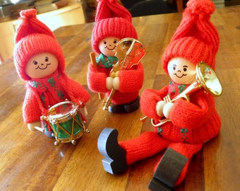 "Trio of Vintage Christmas Tomtes/Elves with Musical Instruments--Ljungströms of Sweden--3-1/2"" H x 2-1/2"" W--Original Stickers--MINT"