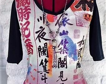 Oriental Top, Asian Style Top, Teenage Top, Oriental Symbols, Blue Fish, Small Top, Teenage Girls
