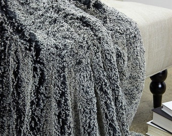 Luxurious Frosted Snuggle Fur Throw Blanket  - Backed with Silky Soft Minky Cuddle Fur - Fur Accents Designs USA