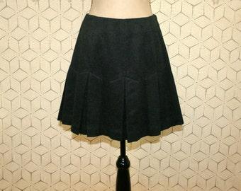 Wool Mini Skirt Charcoal Gray Pleated Skirt School Girl Preppy Skirt Small Medium Womens Skirts Vintage Banana Republic Womens Clothing