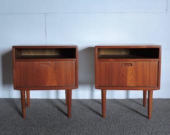 Pair of Danish Modern Teak Nightstands by Falster