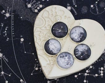 Birth Moon Necklace, Zodiac Necklace, Custom Moon, Custom Birth Moon and Zodiac, Moon Phase Necklace, Watercolor Moon, Zodiac Constellations