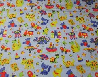 Flannel Fabric - Zoo Light Blue - 1 yard - 100% Cotton Flannel