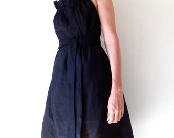Rami linen dress, Prom dress, halter neck dress, one size fits all, ruffled neckline, South African Shop, one of a kind, made to order.