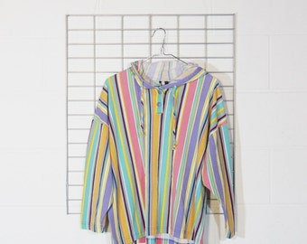 boxy faded pastel striped hooded long sleeve tee shirt