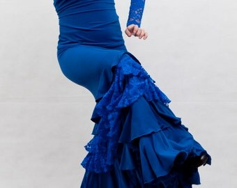 Lazurita Flamenco Skirt, Royal Blue